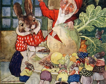 ADORABLE Gnome and Bunny.  VINTAGE  Fairy Tale DIGITAL Illustration. Digital Download