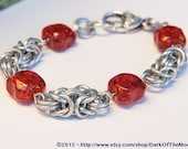 Silver Byzantine Chain Maille Bracelet  with Amber Beads and Silver Heart Clasp