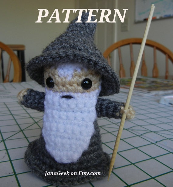 LOTR Gandalf the Gray Wizard Doll Crochet Pattern by JanaGeek