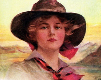 Cowgirl Fabric Block - Girl of the Golden West - Boileau Image