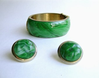 Vintage Faux Malachite Bangle, Earrings, Green Resin Set, Mad Men Chic, Green Marble, Lucite, Mid Century Chunky,