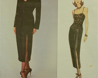 Jacket , Bodysuit & Skirt by Anne Klein -1990's- Vogue Pattern 1262 Uncut   Sizes 6-8-10  Bust 30.5-31.5-32.5""