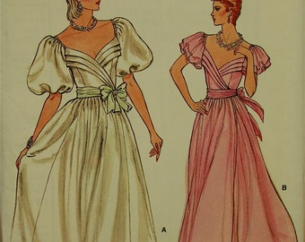 1980s Dress Tucked Front Bodice Vogue Pattern 8976 Uncut   Size 8 Bust 31.5 ""
