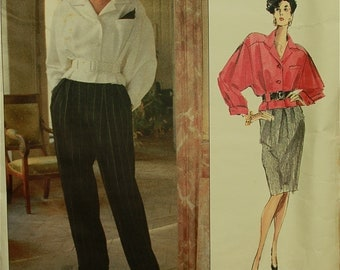 Jacket, Pants & Skirt by Christian Dior  -1990's - Vogue Paris Original Pattern 2448 Uncut   Sizes 6-8-10  Bust 30.5-31.5-32.5""