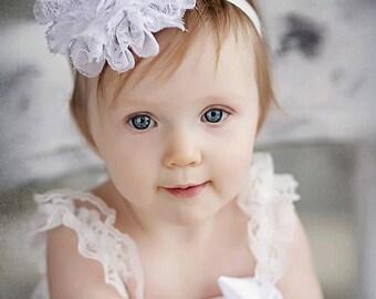 White Baby Headband, Lace Headband, Baby girl Headband, newborn headband, vintage headband toddler fabric headband