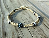 Yin Yang Bracelet Tribal Hemp Jewelry Unisex Square Knot Macrame