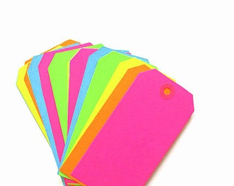 XXL neon blank  gift  tags, 10 neon tags, wedding escort tags, party tags, bright neon tags, hot pink, neon green, orange, yellow & blue