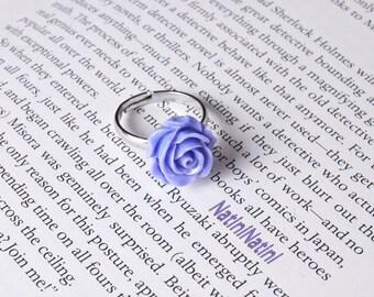 Purple flower fimo ring