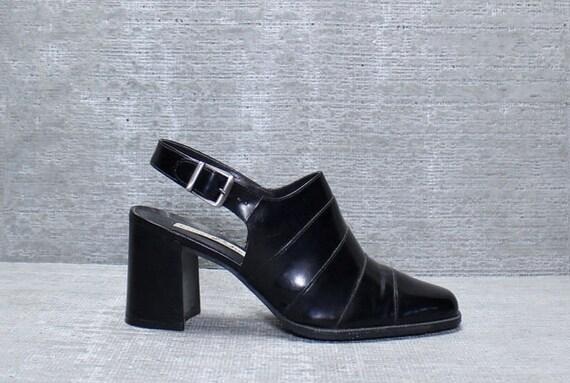 Vtg 90s Black Leather Avant Garde Minimalist Chunk Heel Clogs 7.5
