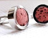 Men Pink Cufflinks - Rose Wine Cork Cufflinks - Wedding Anniversary Gifts for Men