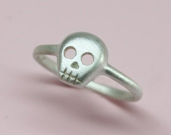 SALE-Size 6.5, Ready to ship, Skull Ring in sterling silver, Silver jewelry, Silver ring, Handmade silver jewelry