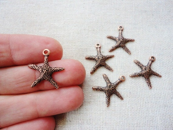 20 pcs Starfish Pendant, Charm, Red Copper Color, Bracelet, Necklace Making Supply, Sea, Jewelry Component, Findings, Beach, Rustic