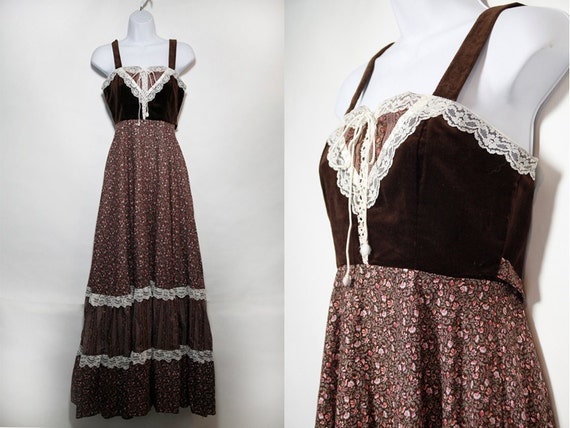 Vintage 70's GUNNE SAX by Jessica San Francisco Brown Floral Sleeveless Prairie Dress Sz.7