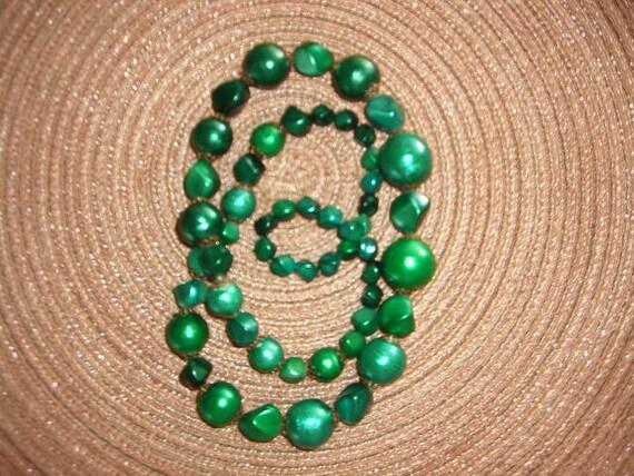 Vintage Mid Century Long Beaded Neckalce, Shades of Green