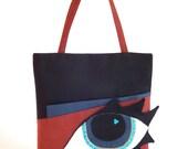 Black and cinnamon tote bag/  Black suede handbag/ Cinnamon suede bag with big blue eye