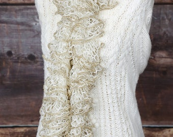 white & gold ruffle scarf