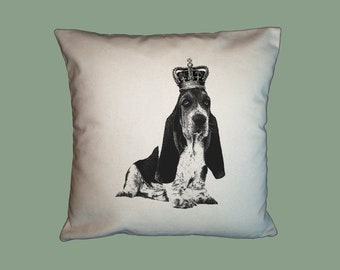Royal Basset Hound HANDMADE 16x16 Pillow Cover - Choice of Fabric - image in ANY COLOR