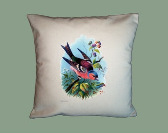Vintage Chaffinch Finch Bird Handmade 16x16 Pillow Cover - Choice of Fabric