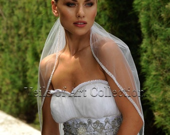 Designer One Tier Embroided Bridal Wedding Veil Fingertip Style VE309 NEW CUSTOM VEIL