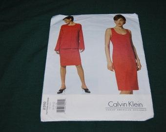 Vogue 2310 Calvin Klein Misses/Misses Petite Jacket and Dress Sewing Pattern UNCUT  Size 12 14 16
