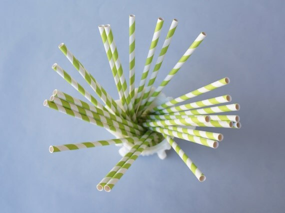 CLEARANCE 50 Lime Green Stripe Straws with DIY Flag Template