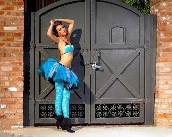 Adult tut, edc tutu, rave raver outfit, neon blue black tutu skirt, goth tutu, steampunk clothes, sweet 16 tutu, prom