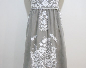 Mexican Embroidered Sundress Cotton Strapless Drees In Gray With Lining, Boho Dress, Beach Dress