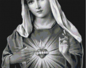 Handmade Black and White Virgin Mary Sacred Heart Cross-Stitch Pattern