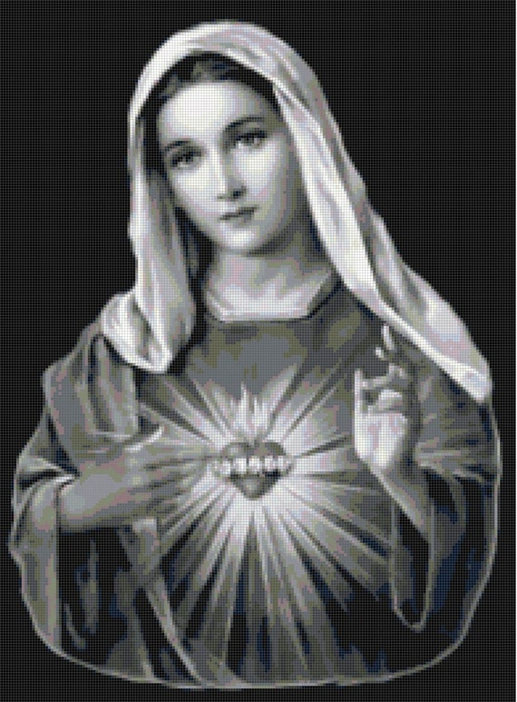 Handmade Black And White Virgin Mary Sacred Heart Cross Stitch