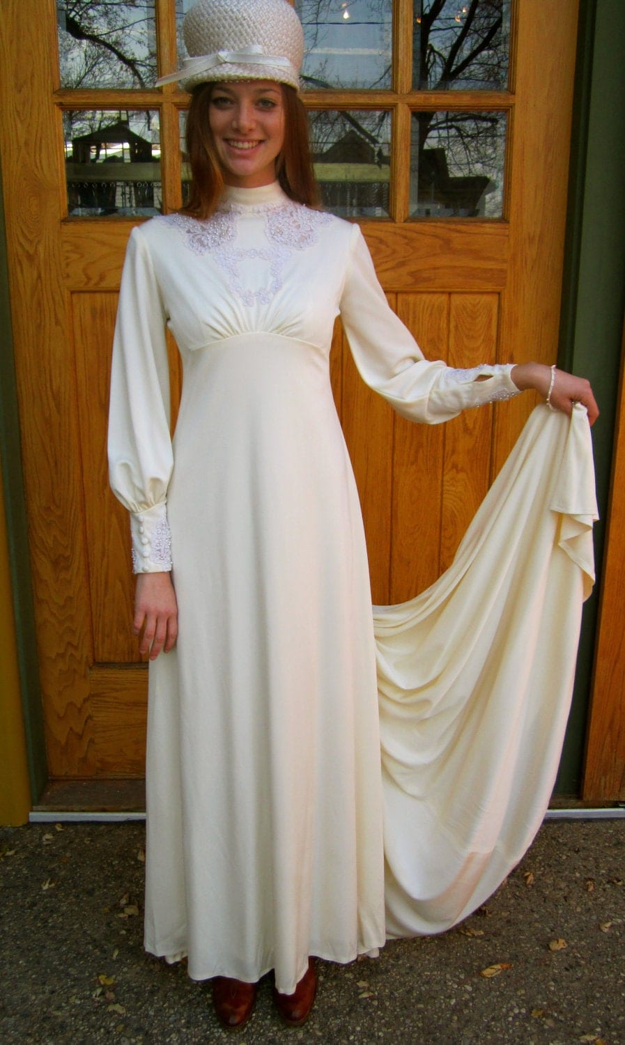 1970 39 s vintage white wedding dress button up back by for 1970 s style wedding dresses