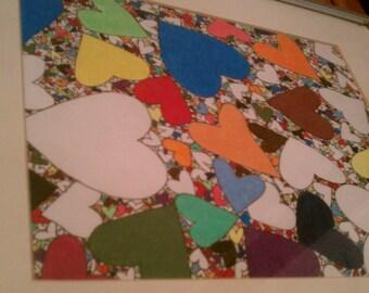 Rainbow Hearts - OOAK - Framed Art
