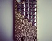 Gold Snakeskin Print Studded Cross Hard iPhone 5 Case