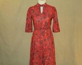 Vintage 1970s Red Sharon Dee Dallas Tie Neck Dress