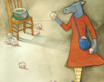 Head Tossing - original watercolor painting - surreal fairytale watercolour - donkey tiny heads fishbowl game - illustration - stress