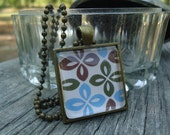 Blue, Brown, Green Flowers Glass Tile Pendant