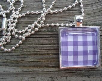 Purple and White Checkered Glass Tile Pendant, Square