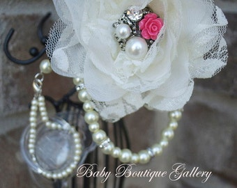 Baby Boutique 4-in-1 Beaded Pacifier Holder - Rose center - Pick your color