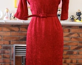Items Similar To Ruby Red Vintage 1950s Wiggle Dress With