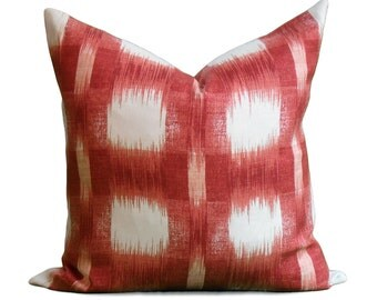 SALE - Linen Ikat Pillow Cover - Raleigh in Popply Decorative Pillow - SAME Fabric BOTH Sides - Invisible Zipper
