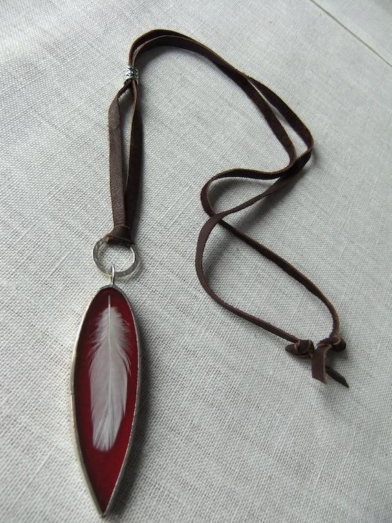 SALE. Take Flight Deep Rich Red Long Pointed Art Glass Pendant