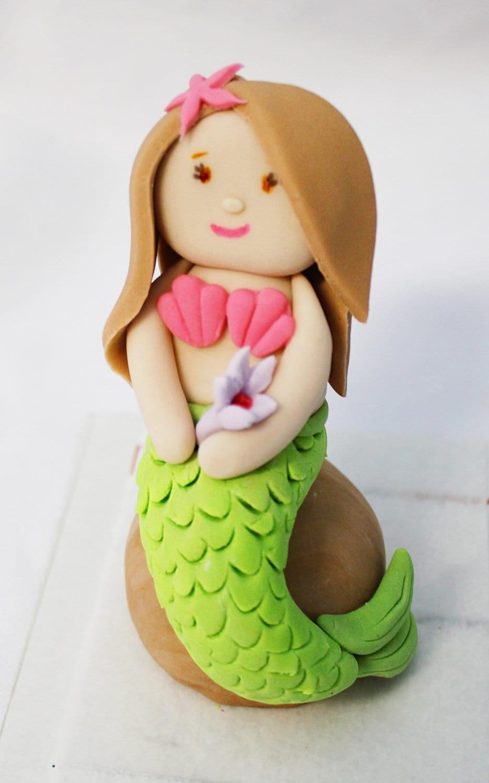 Fondant Cake Decorations Uk : Fondant Mermaid Cake Topper for little Mermaid Mermaid party