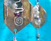 Fun and Funky Silver Metalworked Dangle Earrings with Silver plated accents and Swarovski crystals/Czech glass from Third Time's A Charm
