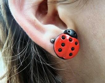 Lady Bug Post Earrings