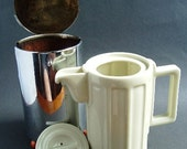 1920s Insulated Coffee Pot Tea Pot  WMF Bauhaus Art Deco Porcelain, Bakelite Steel Bauscher Weiden
