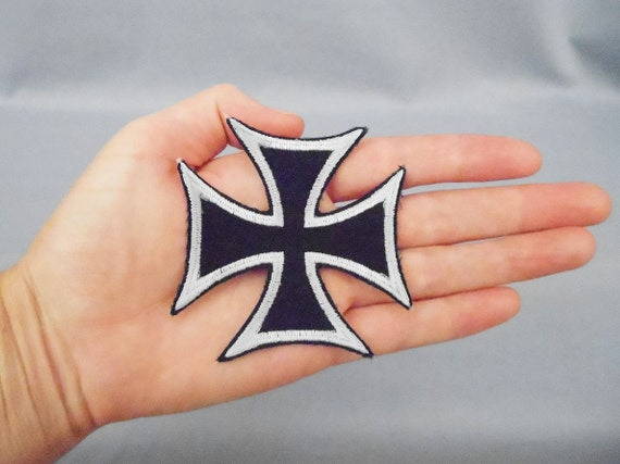 Iron-On Iron Cross Patch Black and White