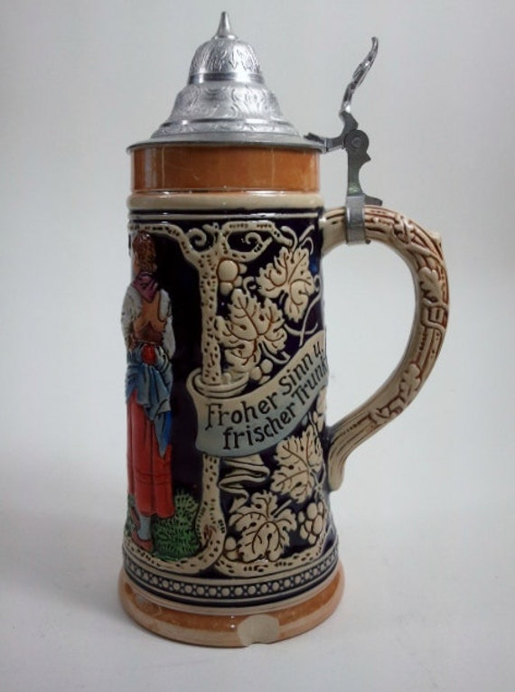 "LARGE Vintage Gerz Lidded Beer Stein 11.5"" Tavern West ... 