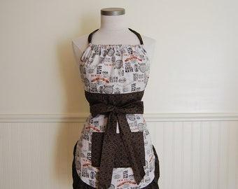 SALE: Full Apron with Gathered Top, Ruffled Bottom and Pocket