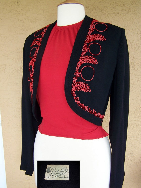 Vintage 1940s Fantastic Embroidered Bolero Jacket with Dickey