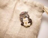 Watzup Hip Hop Owl with Supreme Hat Yo Brooch Yo - animal pin - Golden Dollar