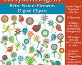 Digital Mod Retro Nature Clipart - Instant Download, Red Blue Green Yellow, Flower Dragonfly Bird, Printable Digital Clipart